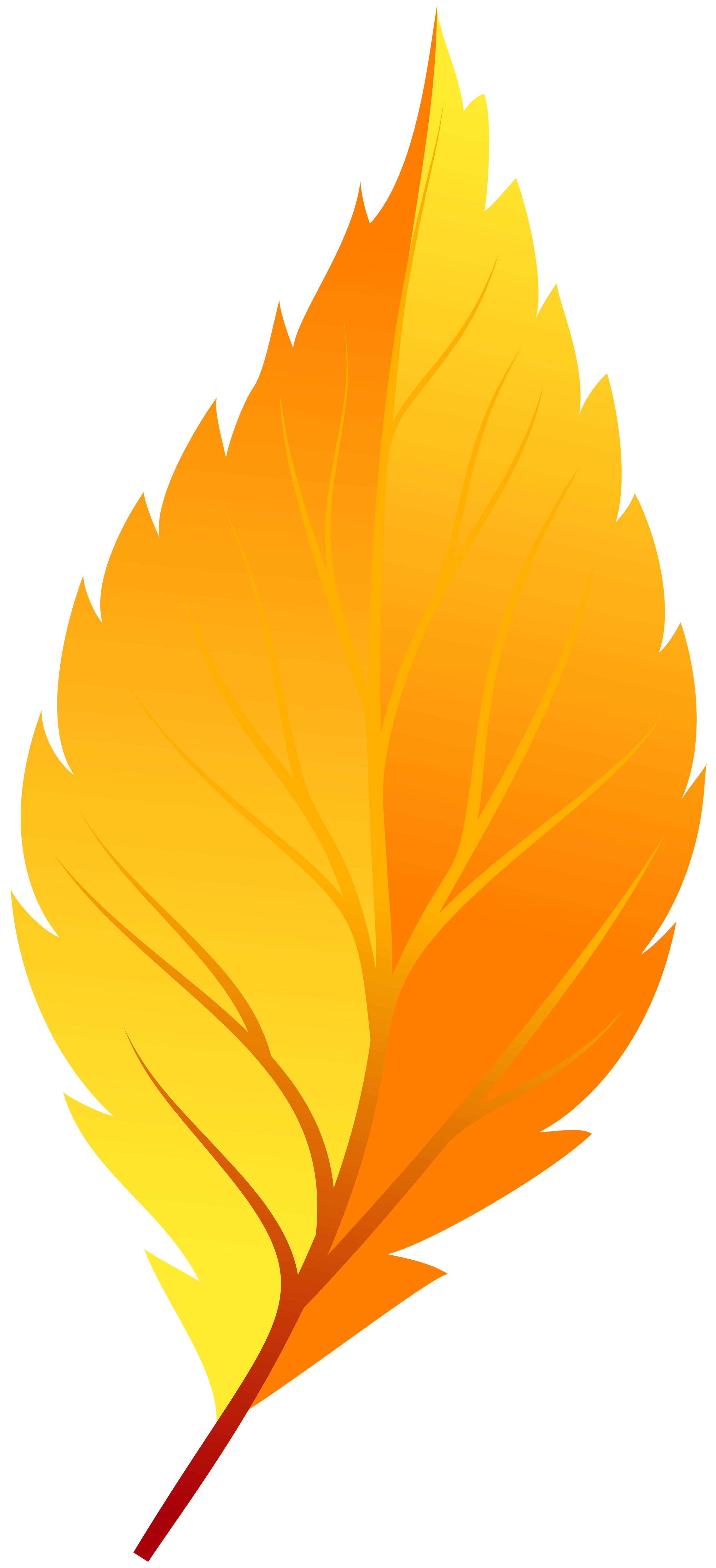2741x6000 Yellow Autumn Leaf Png Clip Art