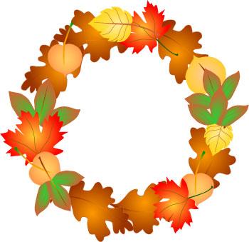 350x339 Autumn Leaf Wreath Clip Art Border Frame