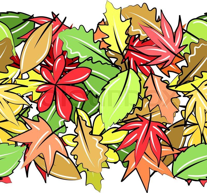 800x744 Seamless Horizontal Border With Autumn Leaves On White Stock