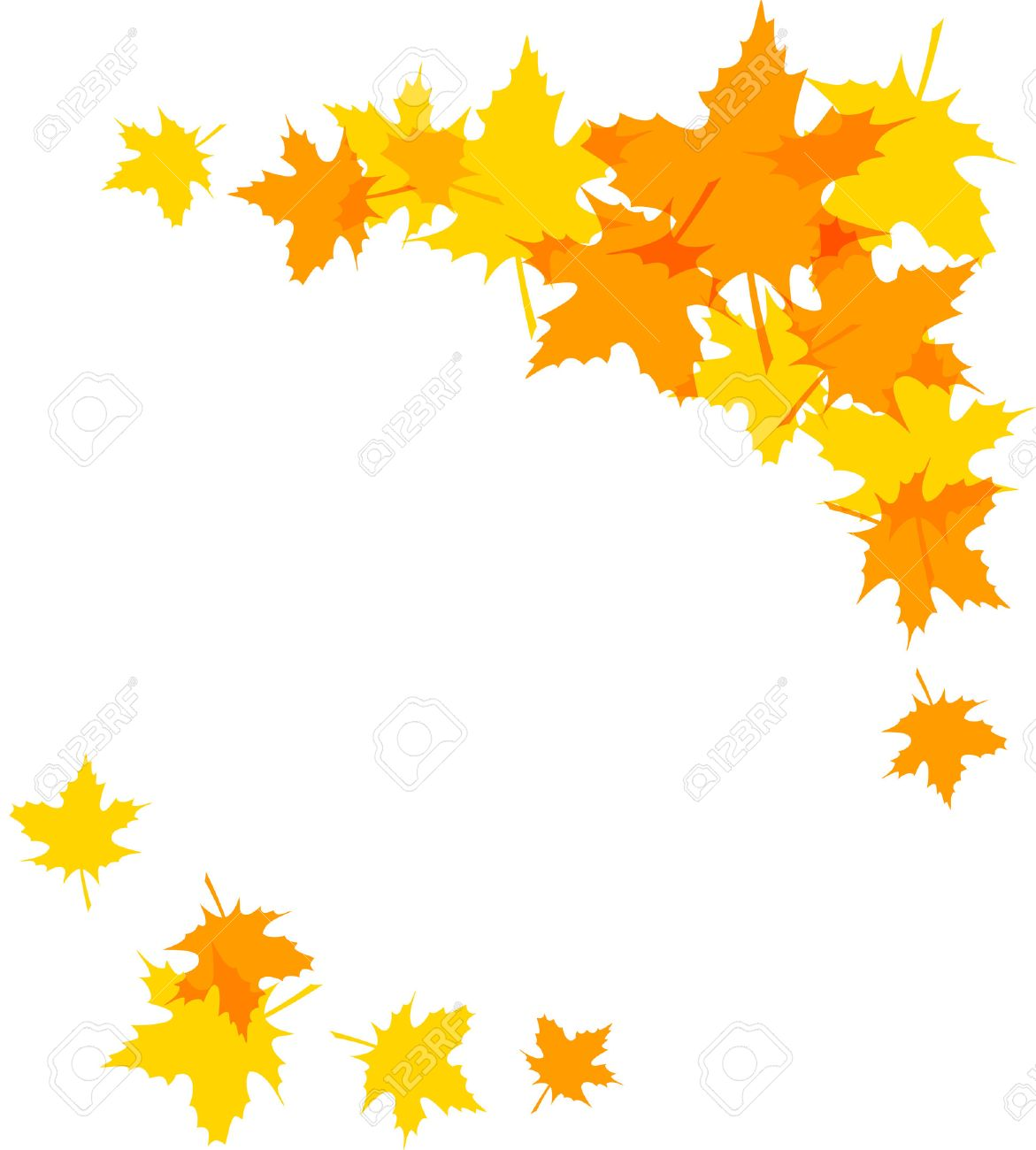 1171x1300 Autumn Leaves Decorative Borders Isolated On White. Clip Art