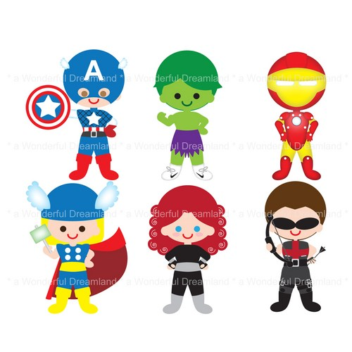 500x500 Superhero Avenger Kids Boy Pdf Png Clip Art Digital File Room