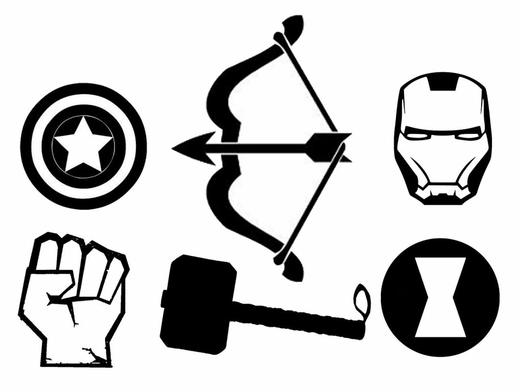 1024x768 Best Avengers Clip Art Black And White Drawing