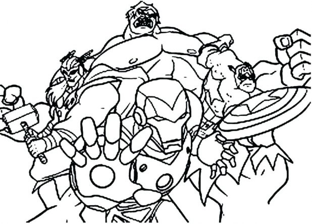 618x443 Avengers Show Action Coloring Pages Printable A For Free 11