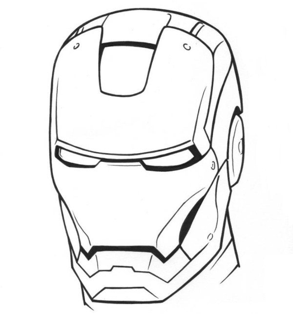 600x644 Iron Man 3 Mask Superheroes Coloring Pages