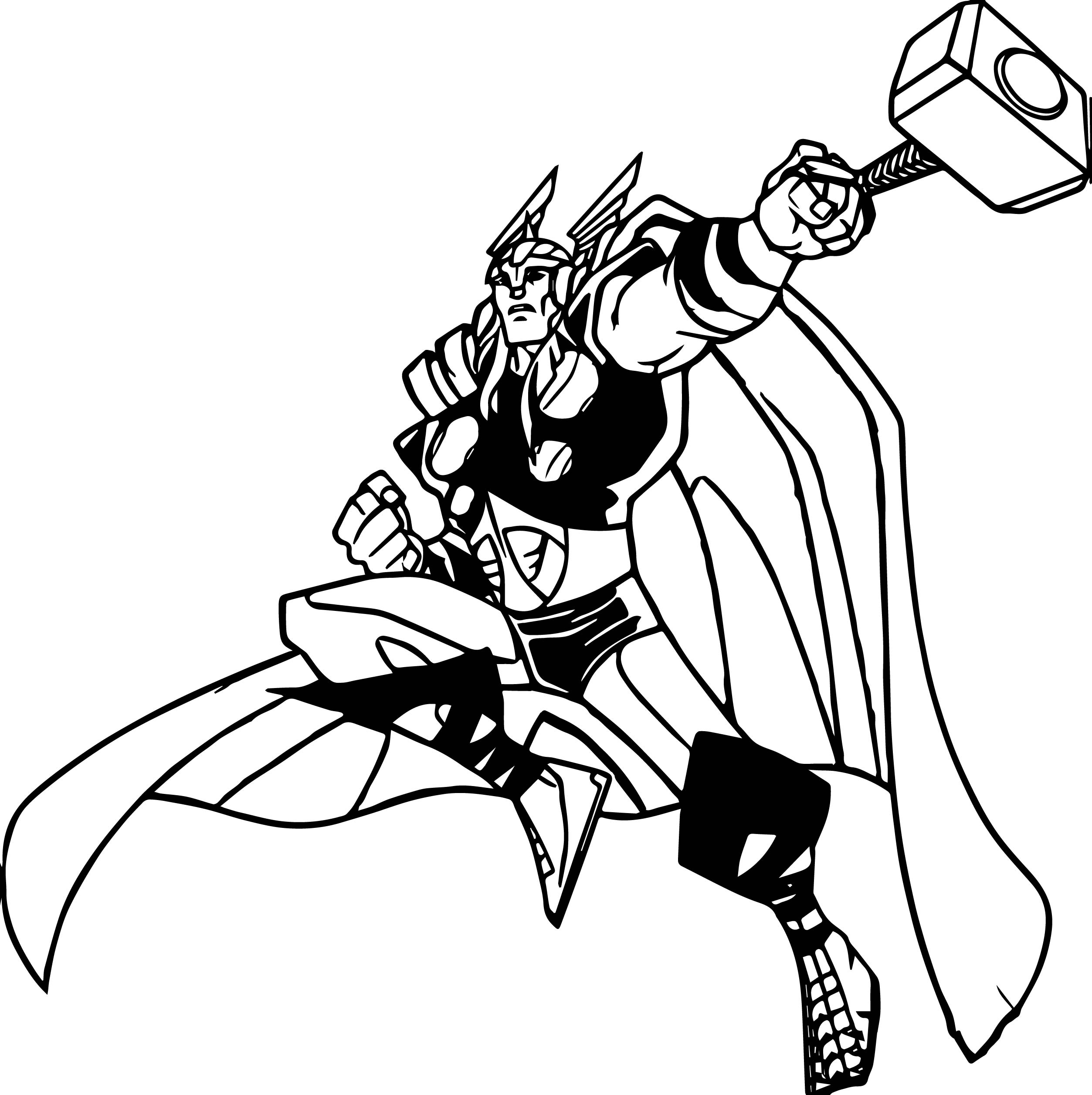 2506x2513 Marvels Avengers Thor Cartoon Coloring Page Wecoloringpage