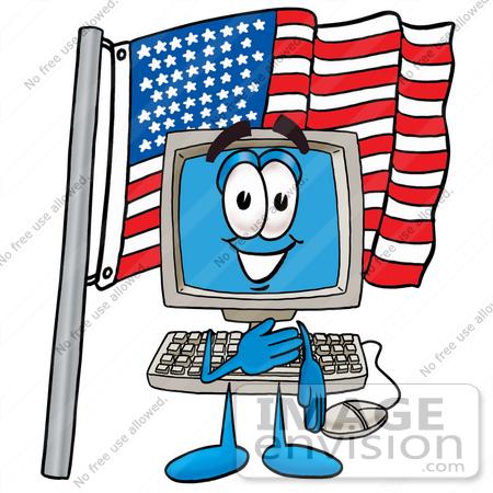 450x450 Clip Art Graphic Of A Desktop Computer Cartoon Character Pledging