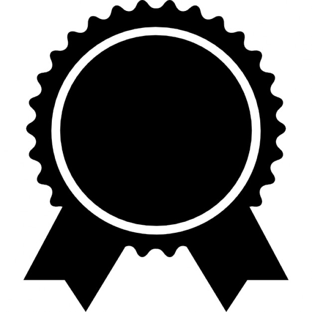 626x626 Award Badge Of Circular Shape With Ribbon Tails Icons Free Download