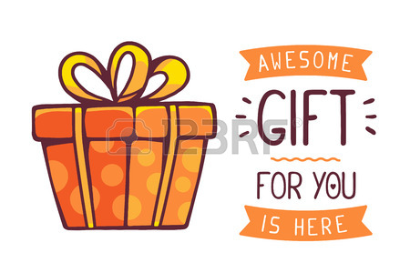 450x300 Illustration Of Great Red Gift Box With Title Awesome Gift