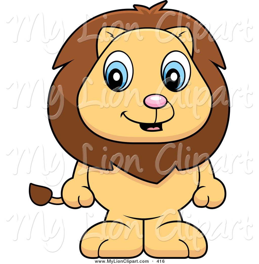 1024x1044 Clipart Of A Happy Baby Lion Standing On His Hind Legs By Cory