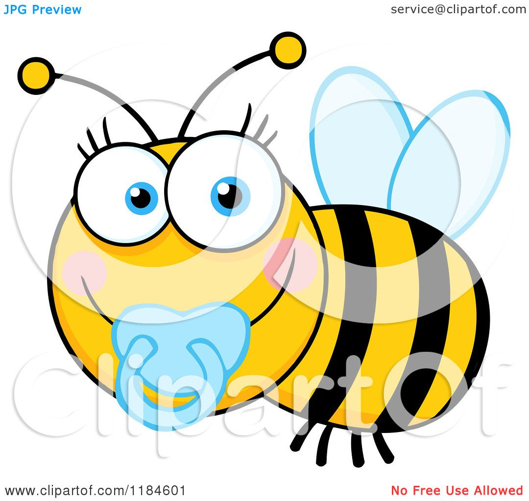 1080x1024 Cartoon Of A Cute Baby Bee With A Pacifier