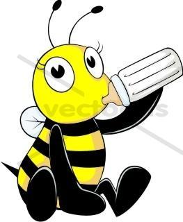 263x320 Baby Bee Drinking Milk In Bottle