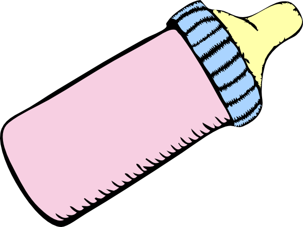 600x450 Baby Pink And Blue Bottle Clip Art