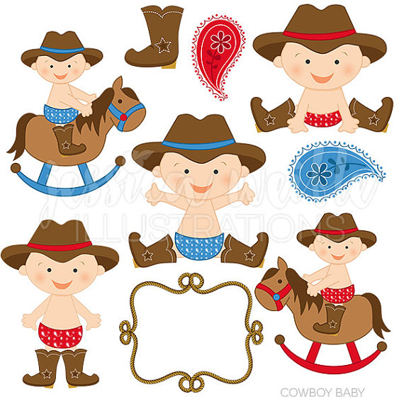 570x570 Cowboy Baby Boy Cute Digital Clipart Cowboy por JWIllustrations