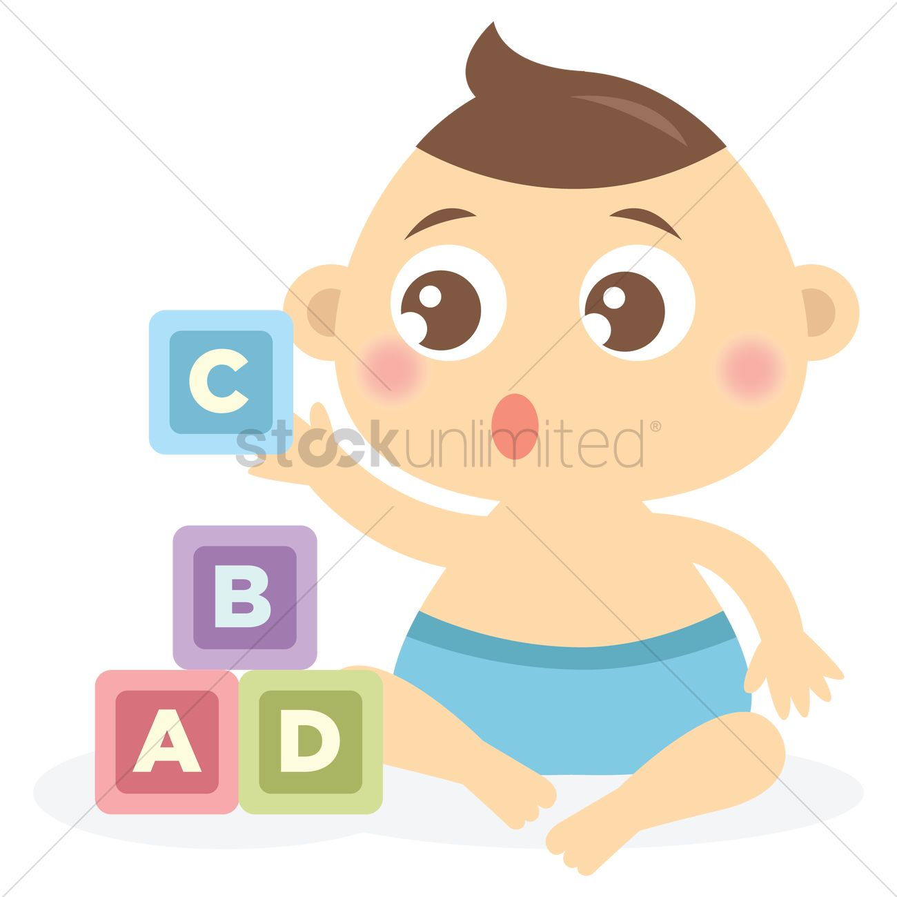 1300x1300 Free Baby Boy Playing Alphabet Blocks Vector Image