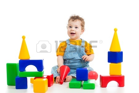 450x300 Little Baby Boy Playing With Building Blocks Stock Photo, Picture
