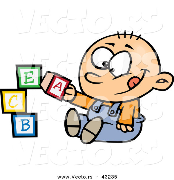 600x620 Vector Of A Happy Cartoon Baby Boy Playing With Alphabet Abc