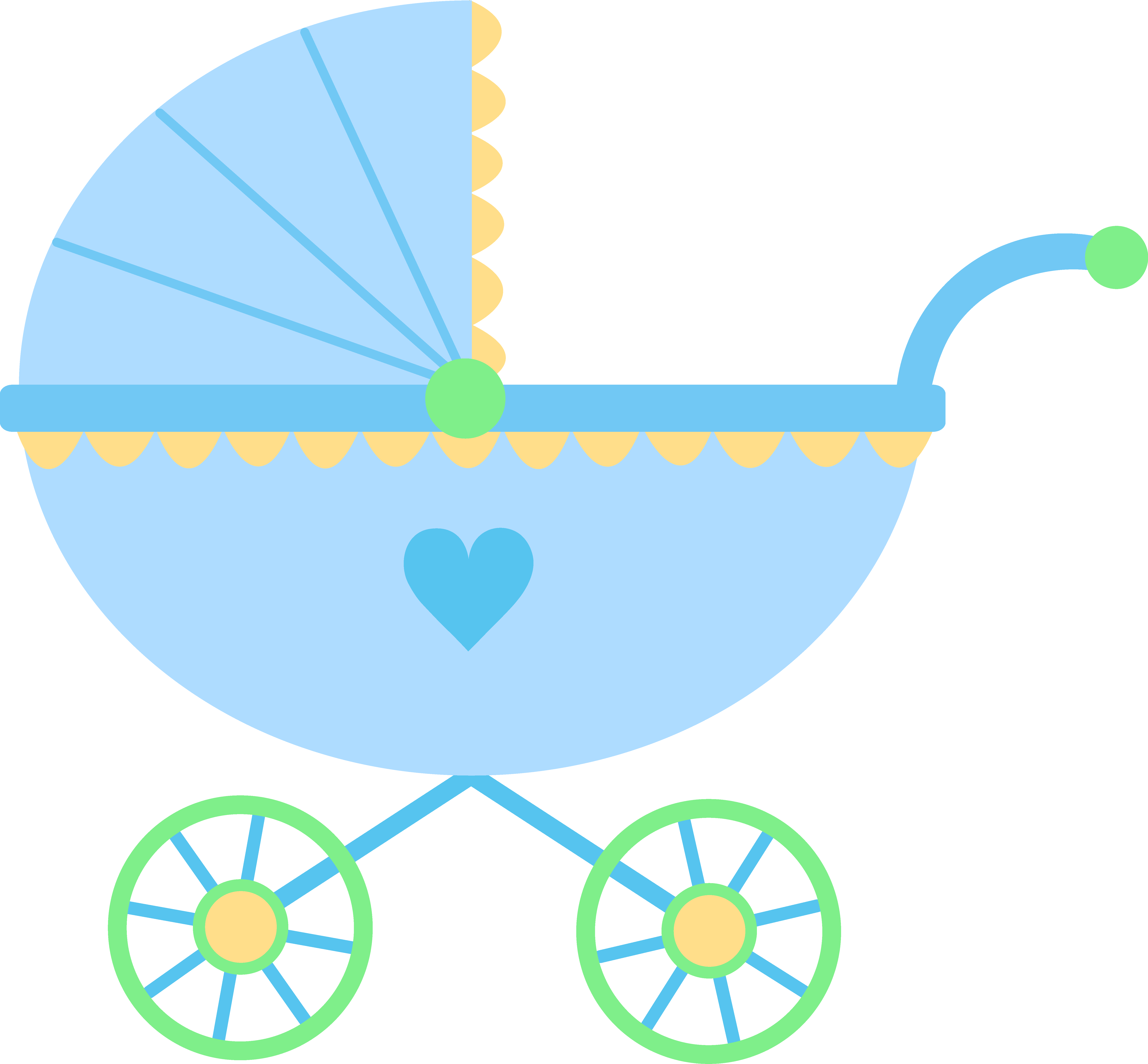 6355x5889 Cute Blue Baby Carriage