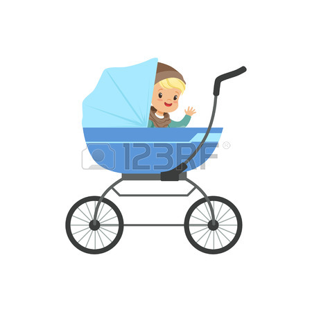 450x450 Cute Little Boys Sitting In A Blue Baby Carriage For Twins, Safety