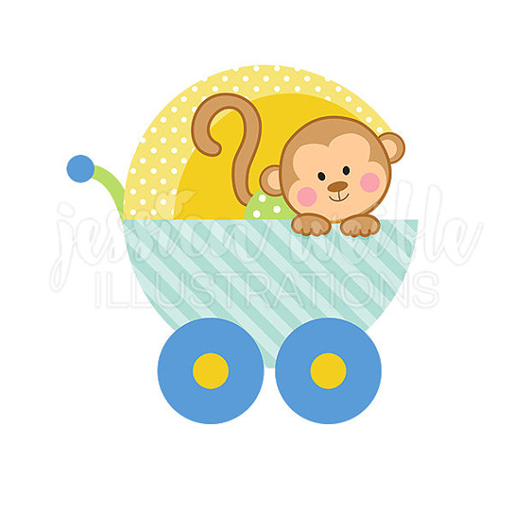 570x570 Baby Boy Monkey Carriage Cute Digital Clipart, Cute Baby Monkey