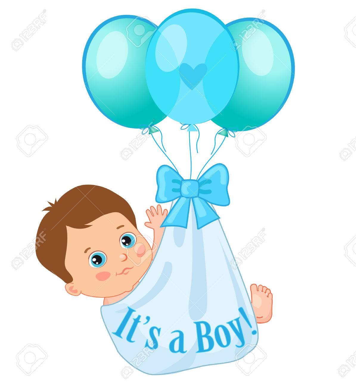 1195x1300 Color Balloons Carrying A Cute Baby Boy. Baby Boy Vector
