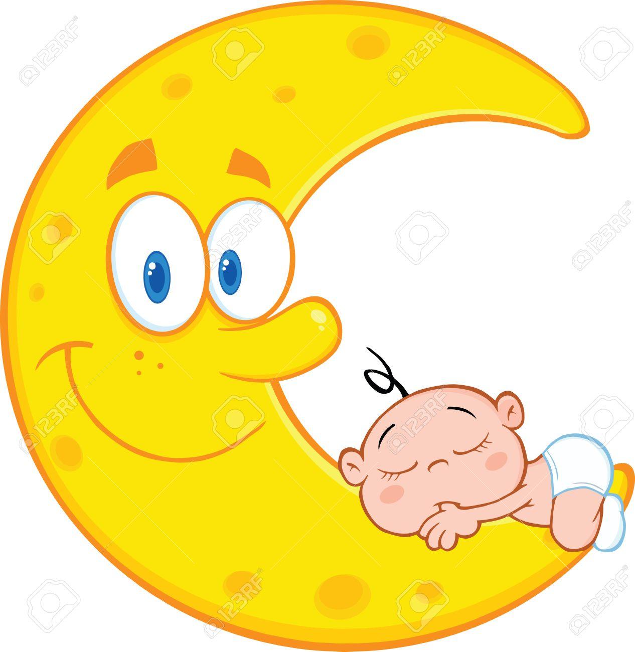 1266x1300 Cute Baby Boy Sleeps On The Smiling Moon Cartoon Characters
