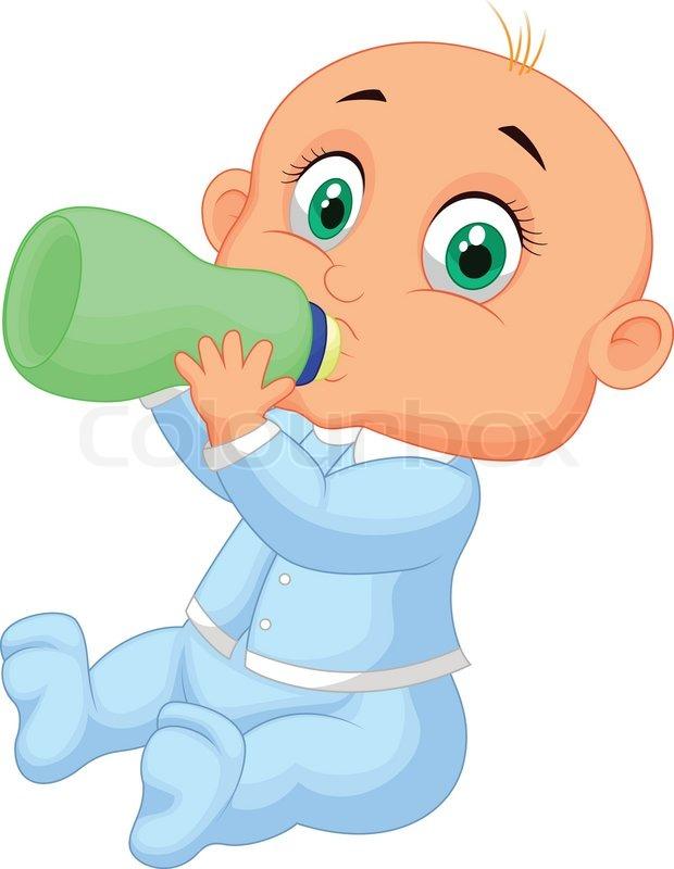 620x800 Vector Illustration Of Baby Boy Cartoon Drinking Milk Stock