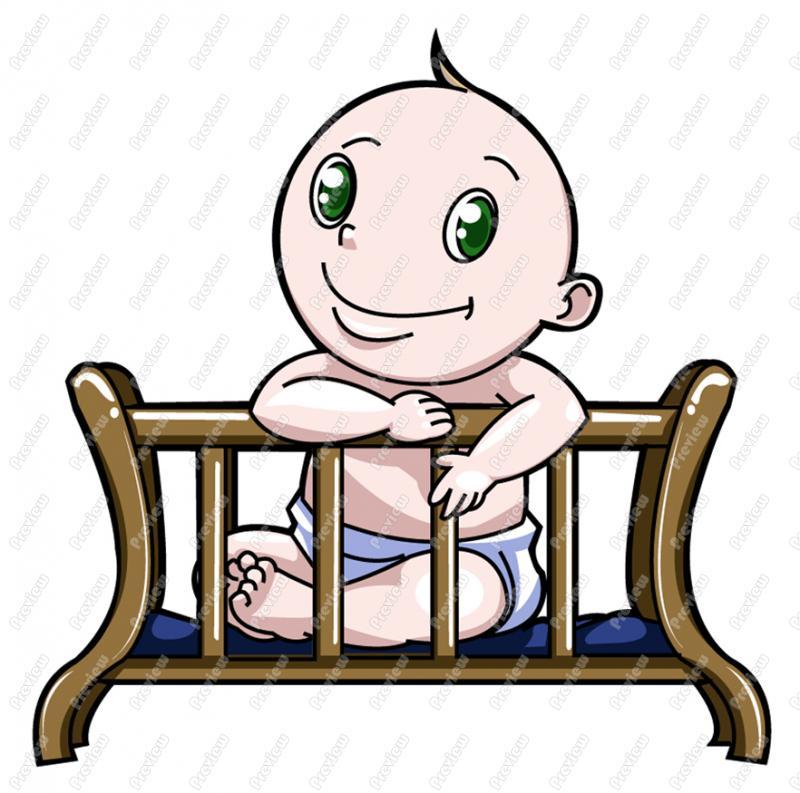 800x793 Baby Boy In Crib Clip Art