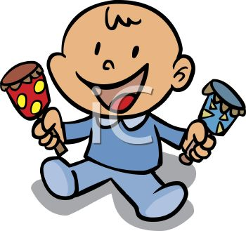 350x329 Cartoon Baby Boy Holding A Rattle In Each Hand