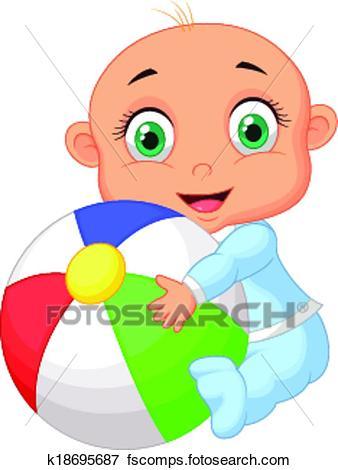 338x470 Clip Art Of Baby Boy Cartoon Holding Colorful B K18695687