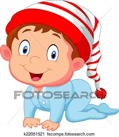 407x470 Clipart Of Baby Boy Cartoon K22051521