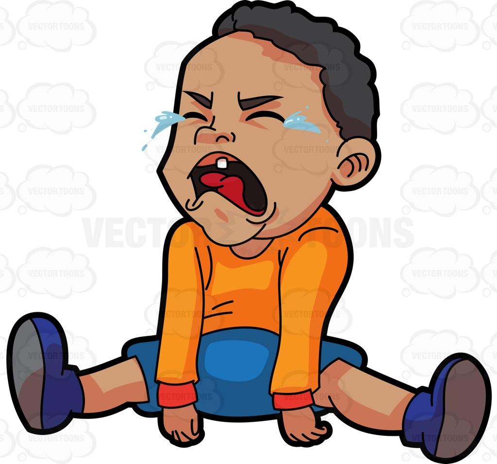 1024x957 A Crying Baby Boy Cartoon Clipart