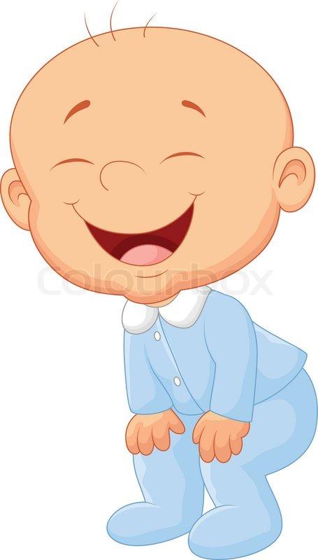 455x800 Vector Illustration Of Baby Boy Cartoon Laughing Stock Vector