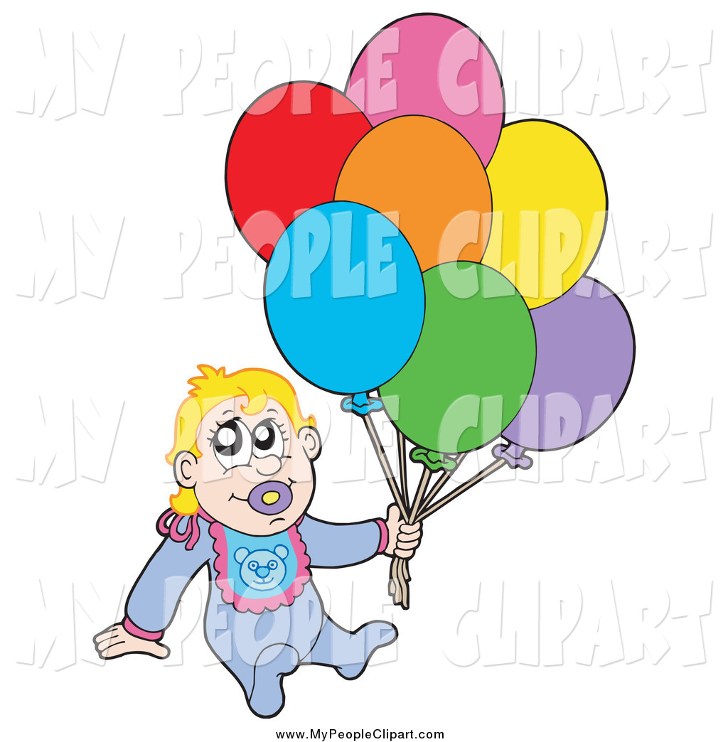 1024x1044 Clip Art Of A White Baby Boy Sitting And Holding Balloons By