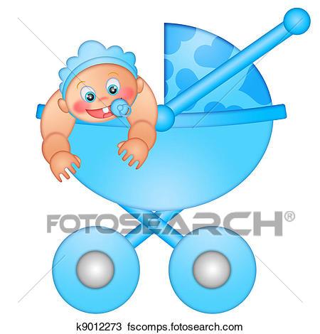 450x470 Drawing Of Baby Boy In Stroller K9012273
