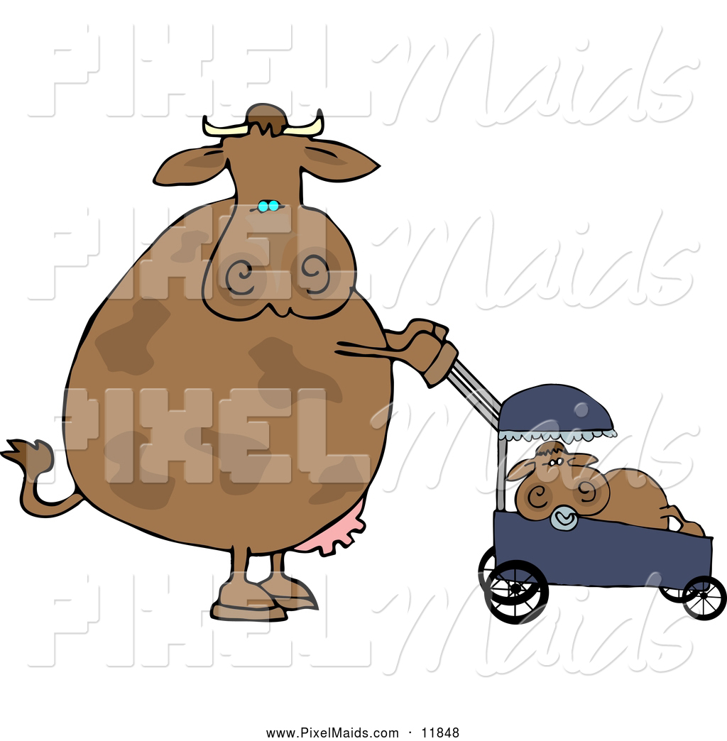 1024x1044 Clipart Of A Brown Mom Cow Pushing Her Calf In A Baby Stroller By