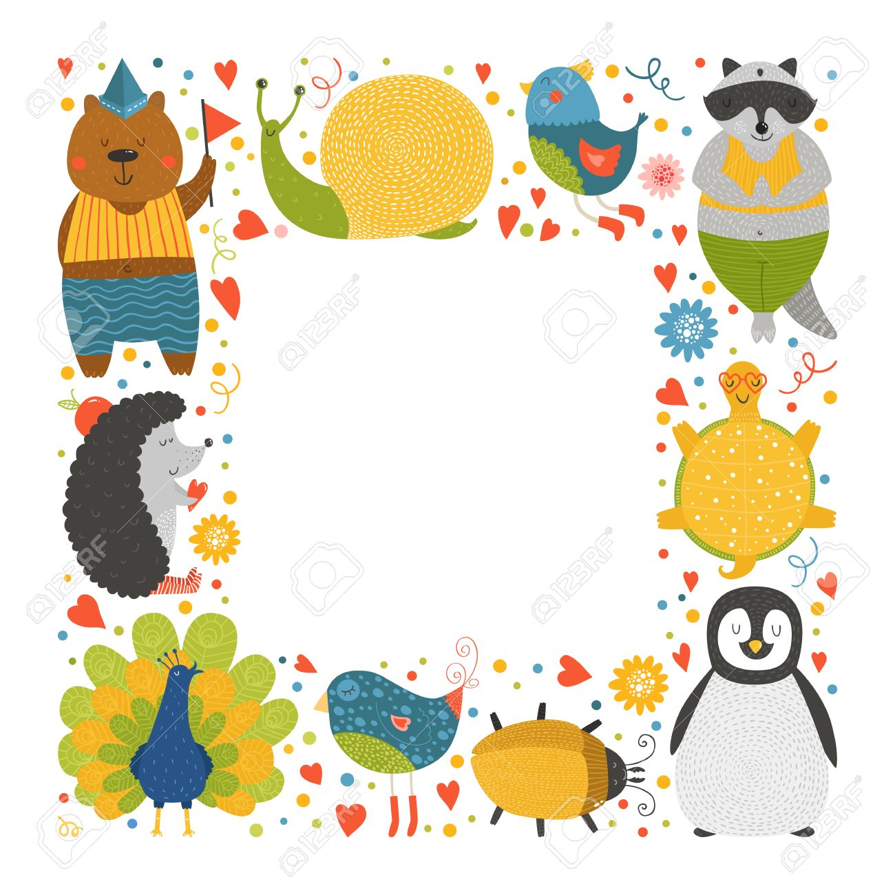 1300x1300 Cute Animal Frame With Baby Animals Bear, Bird, Peacock, Raccoon