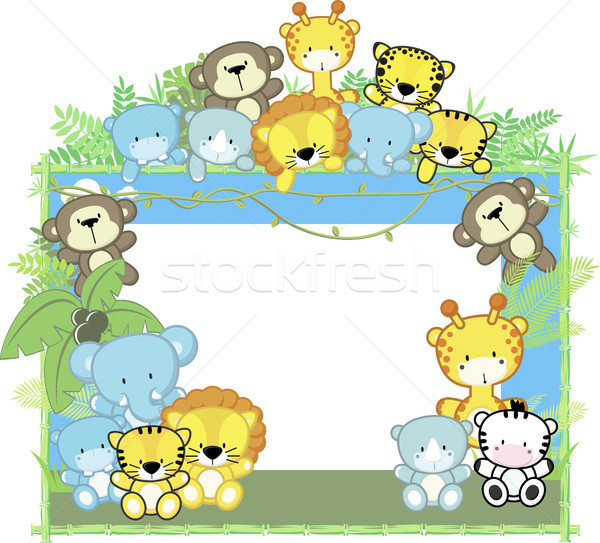 600x543 Cute Baby Animals Jungle Frame Vector Illustration Sergio