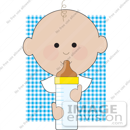 450x450 Clipart Of A Baby Boy With One Curly Hair, Drinking From A Bottle