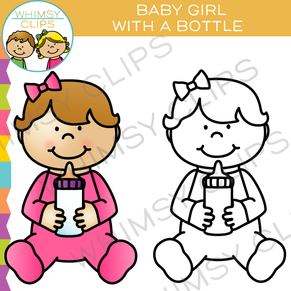 600x600 Baby Girl With A Bottle Clip Art , Images Amp Illustrations Whimsy