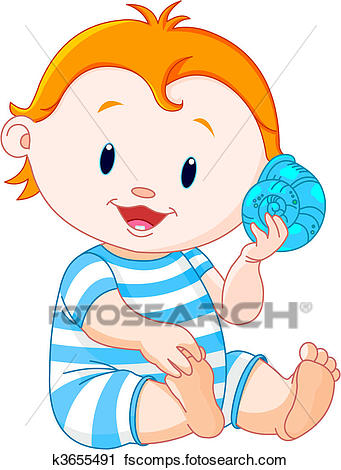 341x470 Clipart Of Baby Listen To Sea Shell K3655491