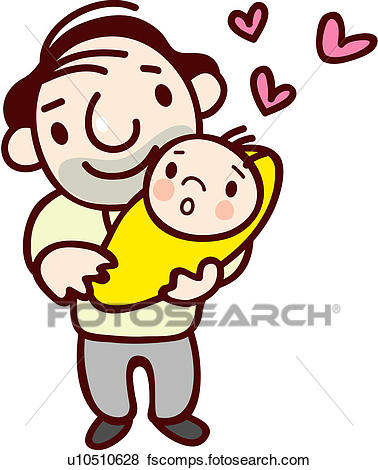 378x470 Clip Art Of Father, Baby, Dad, Human U10510628