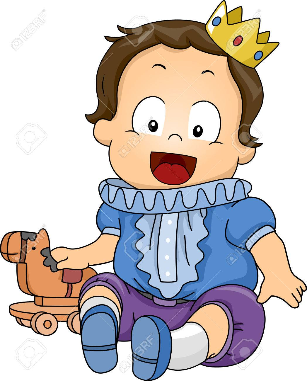1048x1300 Illustration Featuring A Baby Dressed As A Prince Royalty Free