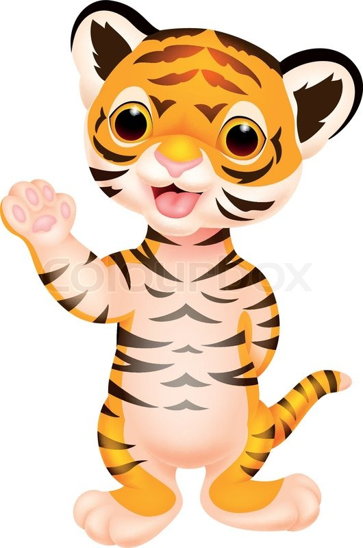530x800 Vector Illustration Of Cute Baby Tiger Cartoon Waving Vector Clip
