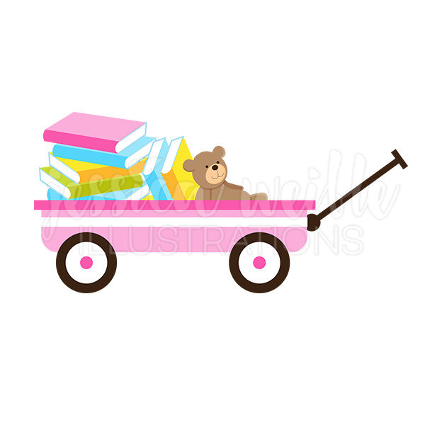 600x600 Pink Wagon Of Books Cute Digital Clipart Book Wagon Clip Art