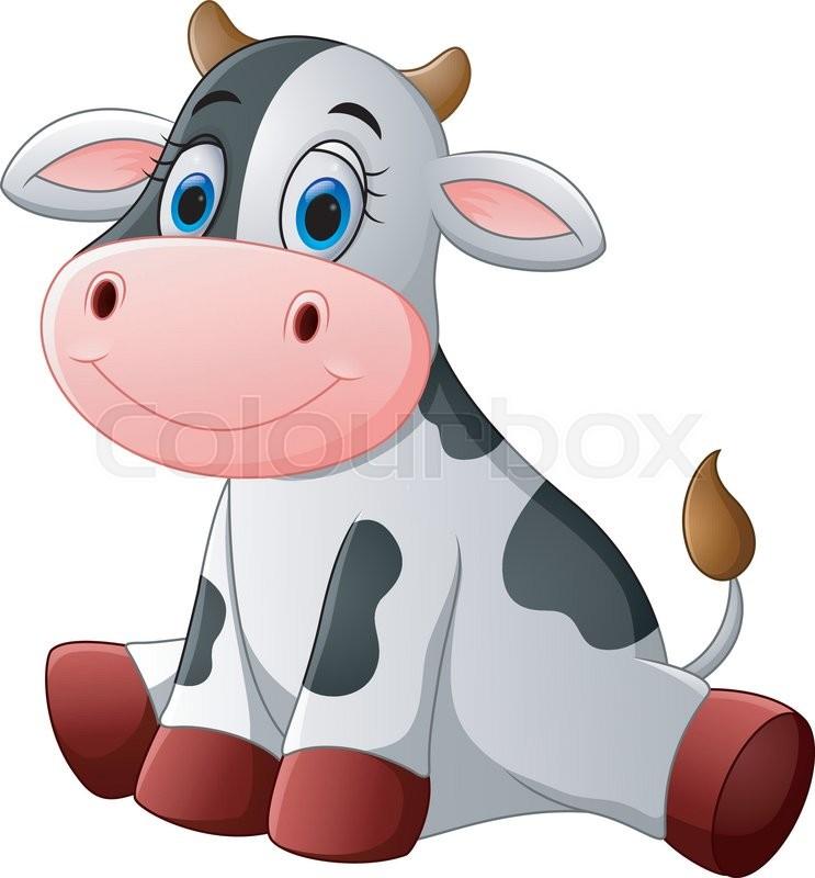 743x800 Cow Cartoon Stock Vector Colourbox