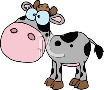 350x301 Picture Of A Baby Cow With Black Spots In A Vector Clip Art