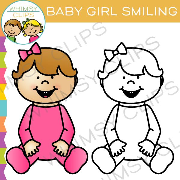600x600 Baby Girl Smiling Clip Art , Images Amp Illustrations Whimsy Clips