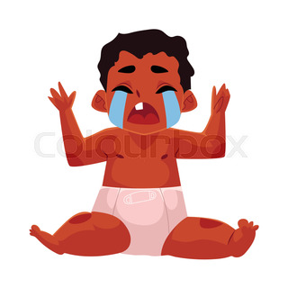 320x320 Cartoon Baby Crying. Vector Clip Art Illustration With Simple