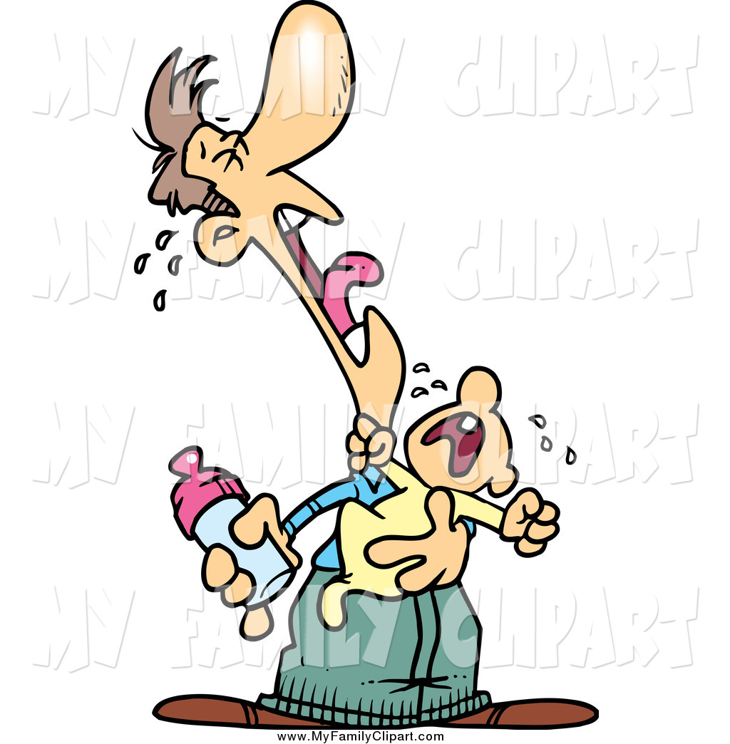 1024x1044 Clip Art Of A Cartoon White Father And Baby Crying A Duet By