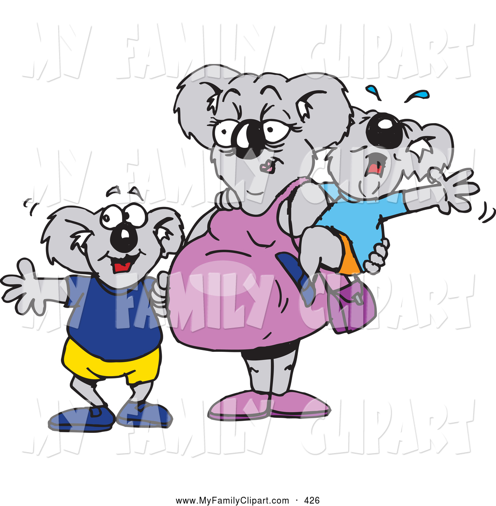 1024x1044 Clip Art Of A Pregnant Koala Mom With A Crying Baby And Happy